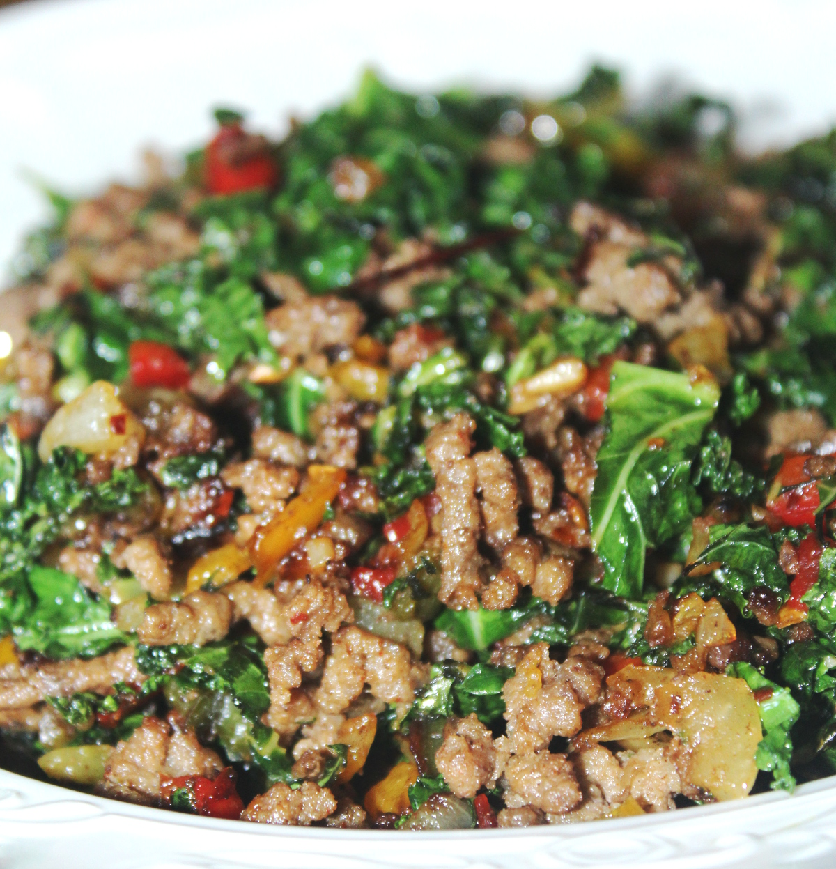 Ground Beef Recopes: Sauteed Ground Beef And Kale