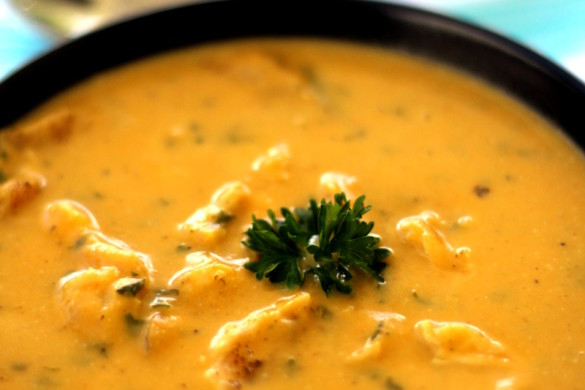Pumpkin and Chicken Soup with Coconut Milk