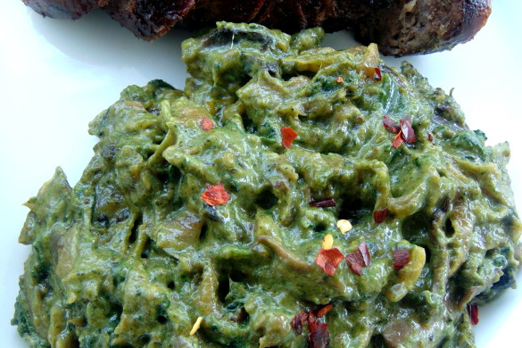Creamed pumpkin leaves(muboora) with caramelised onions and mushrooms